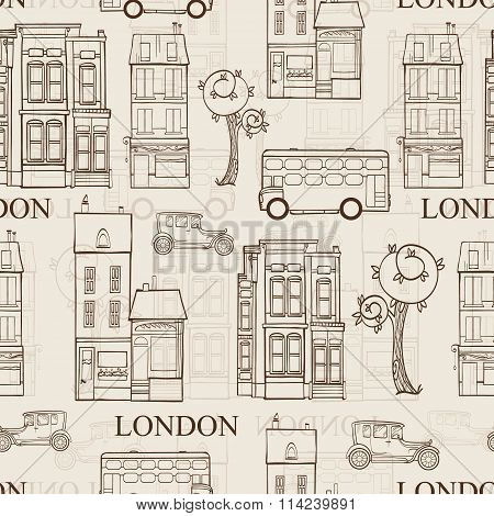 Vector Vintage Brown London Streets Hand Drawn Seamless Pattern with houses, trees, busses, and cars