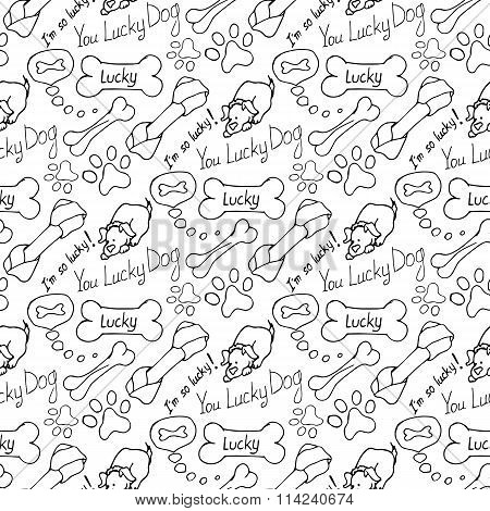 Hand-drawn Illustrations. The Dream Of A Dog Is A Bone. Seamless Pattern.