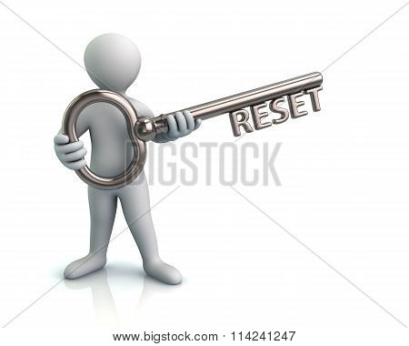 Man And Silver Key With Reset