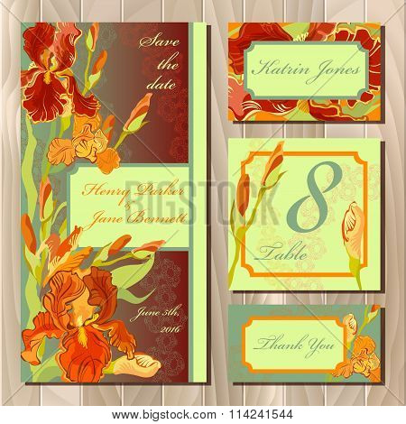 Wedding card design with red iris flowers. Printable vector illustration