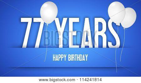 Happy Birthday Card - Boy With White Balloons - 77 Years Greeting Postcard - Illustration Anniversar