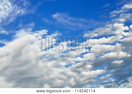Cumulus Clouds Fly Across The Sky