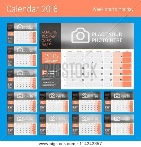 Calendar Planner For 2016 Year. Vector Design Calendar Planner Template With Place For Photo. Week S