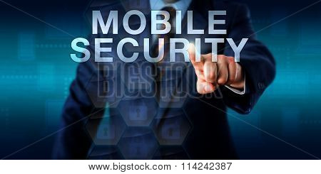 Supervisor Touching Mobile Security Onscreen