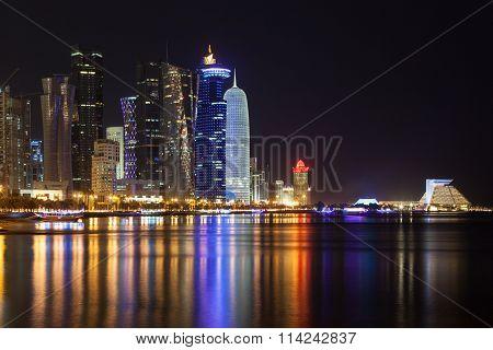 Doha Downtown At Night, Qatar
