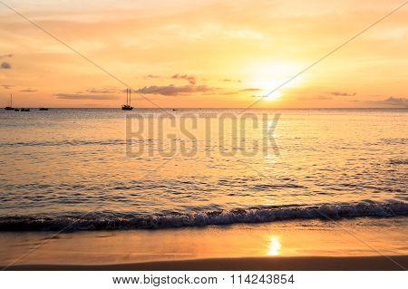 Sunset In Tarrafal Beach In Santiago Island In Cape Verde - Cabo Verde