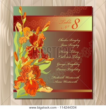 Table guest list. Background with red iris flowers. Wedding template.