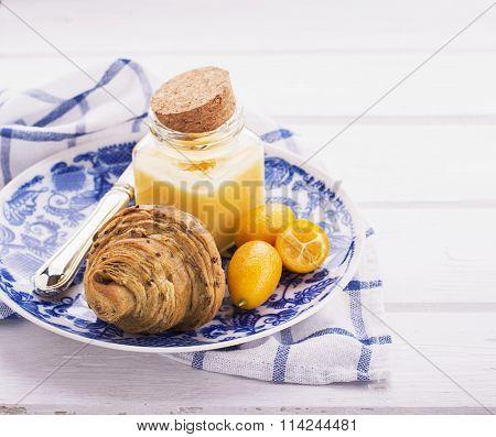 Lemon curd croissants for breakfast