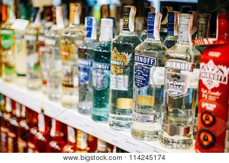 Vodka bottles at the wine store