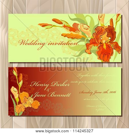 Wedding invitation card with red iris flower background. Vector illustration