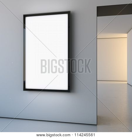 Light softbox in the bright interior. 3d rendering
