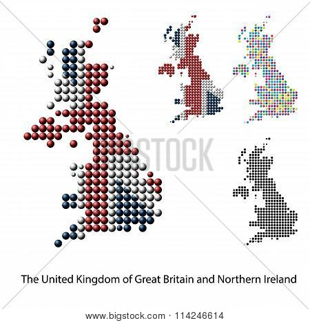 UK, Great Britain Map vector color dotted design