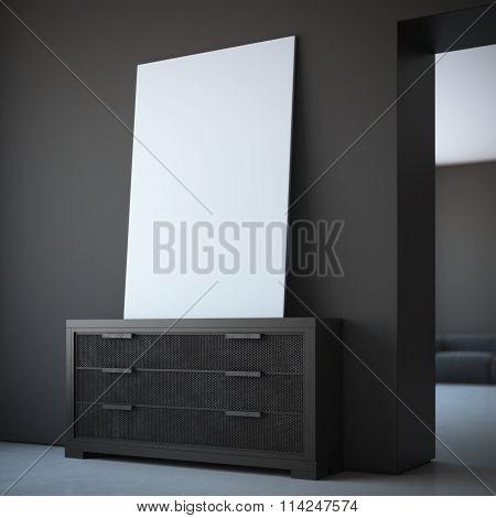 Blank canvas in dark interior with black walls. 3d rendering