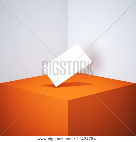Blank white business card on orange podium