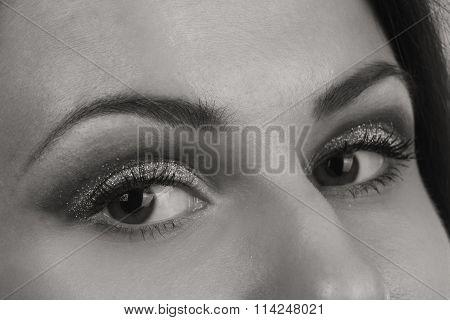 Beautiful female eye. Black and white photography.