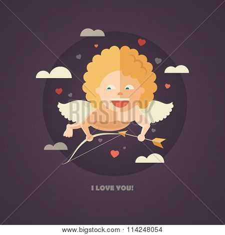 Flat design illustration of Valentines day card with a Cupid