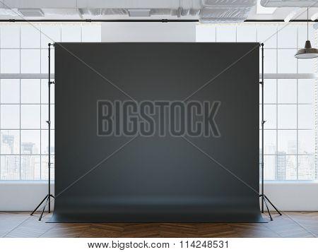 Blank black studio background inloft interior