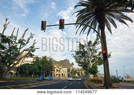 Traffic light on street of Santa Cruz city on Tenerife island