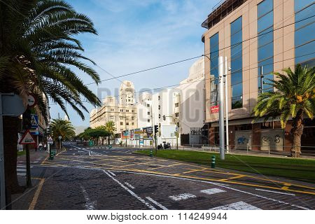 Street with color architecture of Santa Cruz on Tenerife island