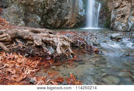 Waterfall Between Rocky Mountain Troodos Cyprus.