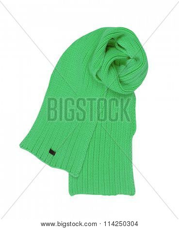 green wool scarf isolated on white background