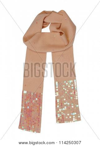 beige wool scarf isolated on white background