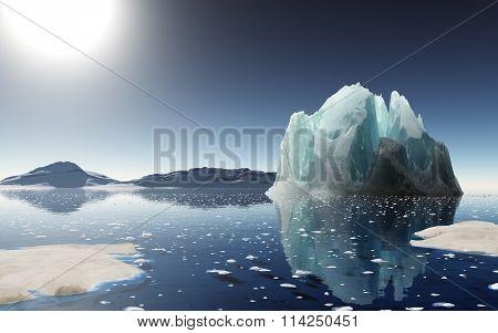 Iceberg Sunset In Antarctica.