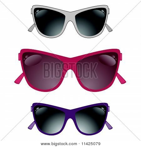 Set of sun glasses on a white background