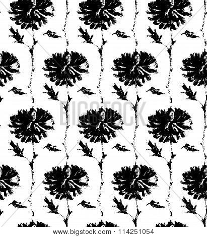 Vector Seamless Pattern With Ink Hand Drawn Flowers Illustration Isolated On White.