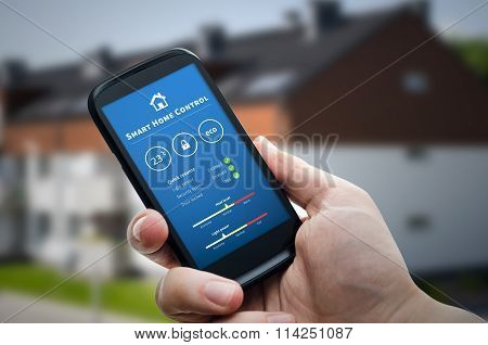 Smart Home Control Technology. Remote Automation System On Mobile Device.