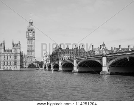 Black And White Houses Of Parliament In London