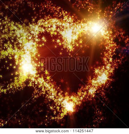 abstract heart of sparks and the lights on a dark background