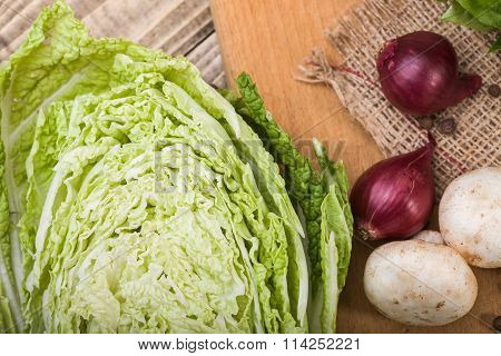 Half Of Chinese Cabbage With Vegetables