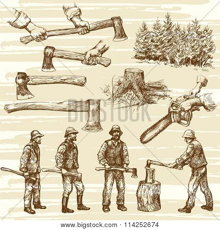 Lumberjacks, cutting wood - hand drawn collection