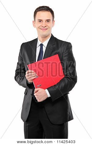 A Happy Businessperson Holding A Red Folder With Documents