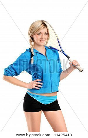 View Of A Female Squash Player Posing
