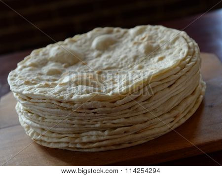 flat bread: Stack of pita bread