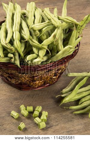 Small And Slender Green Beans (haricot Vert) On A Wood