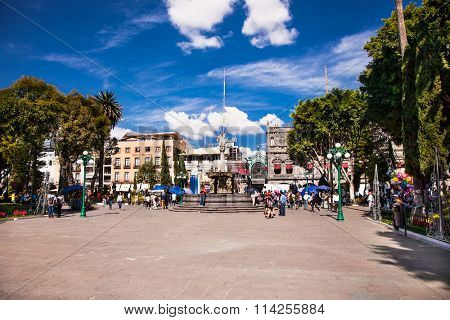 PUEBLE, MEXICO-DEC 5, 2015: Zocalo square in Pueble, Mexixo  on Dec 5, 2015.The Zocalo of the city of Puebla is one of the best preserved in Mexico.
