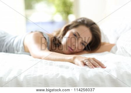 Sad Girlfriend Missing Her Boyfriend On The Bed