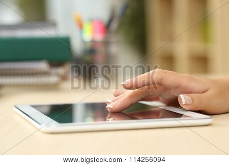 Student Hand Searching In A Tablet
