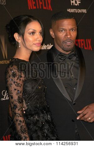 BEVERLY HILLS, CA - JAN. 10: Corrine Foxx and Jamie Foxx arrives at the Weinstein Company and Netflix 2016 Golden Globes After Party,, Jan. 10, 2016 at the Beverly Hilton Hotel in Beverly Hills, CA.