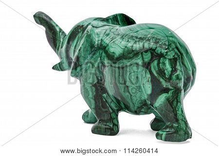 Elephant Figurine From Malachite, Isolated On White Background, With Clipping Path