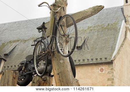 Old And Grunge Bicycle And Motorcycle
