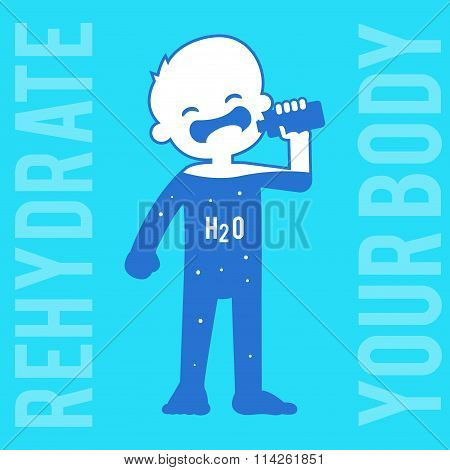 Silhouette Of A Boy Drinking Water
