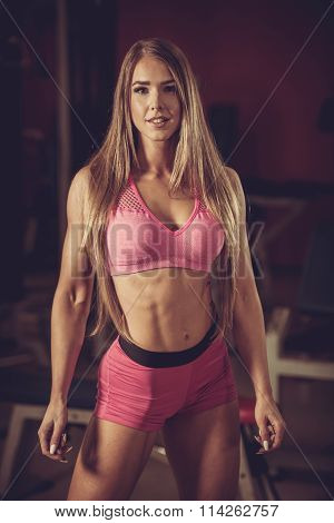 Ftiness Woekout - Popular Beautiful Aoung Woman Workout In Fitness Gym, Training Body Building For B