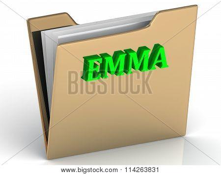 Emma- Bright Green Letters On Gold Paperwork Folder