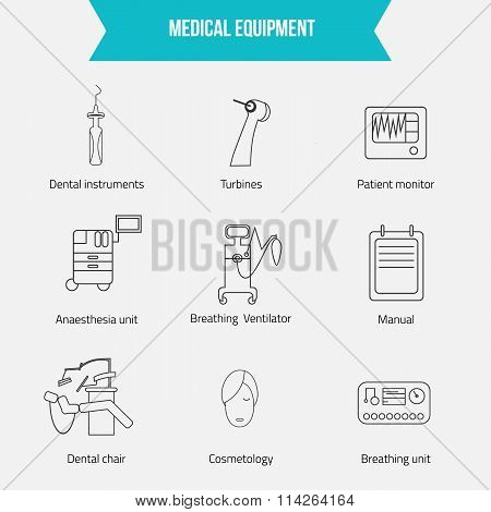 Thin lines web icon set - Medicine equipment including dental chair, breathing ventilator, patient m