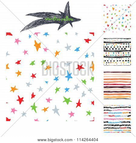 Vector colorful hand drawing cute samless patterns backgrounds set with stars, stripes and zig zags.