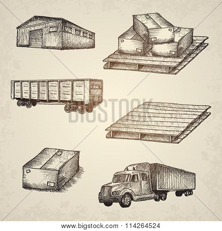 Logistics hand drawn isolated elements.